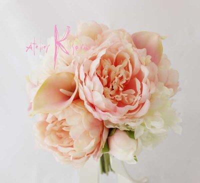 画像2: 造花オーダーメイドミニブーケ (ホワイト&ピンクピオニー)