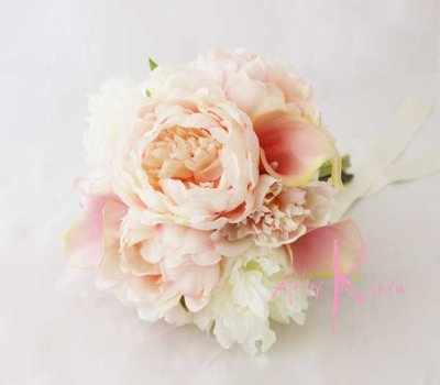 画像4: 造花オーダーメイドミニブーケ (ホワイト&ピンクピオニー)