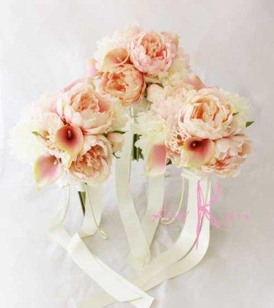 画像1: 造花オーダーメイドミニブーケ (ホワイト&ピンクピオニー)