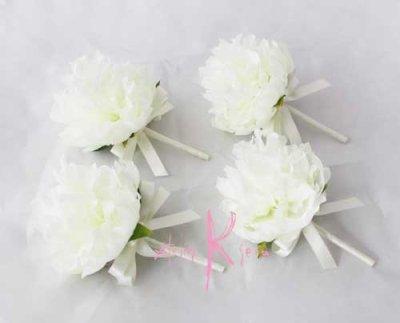 画像5: 造花オーダーメイドミニブーケ (ホワイト&ピンクピオニー)
