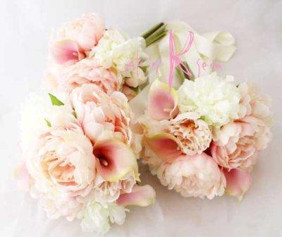 画像3: 造花オーダーメイドミニブーケ (ホワイト&ピンクピオニー)