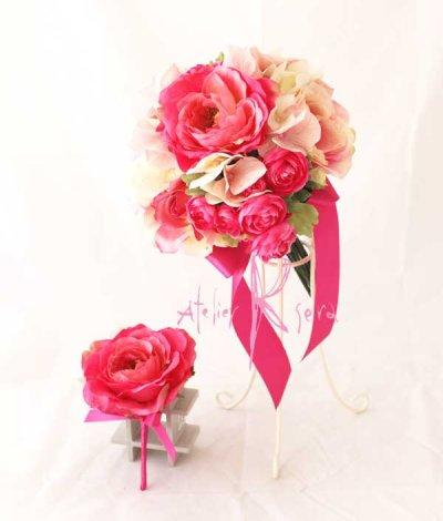 画像1: 送料サービス♪造花ピンク&ピンクローズ♪ クラッチブーケ&ブトニアセット