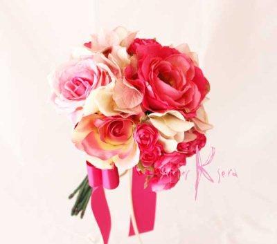 画像2: 送料サービス♪造花ピンク&ピンクローズ♪ クラッチブーケ&ブトニアセット