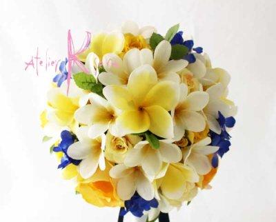 画像2: 造花オーダーメイドブーケ ラウンド20・ブトニア・ヘッドパーツ(イエローローズ&プルメリア&ブルー)