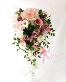 他の写真1: 造花オーダーメイドブーケ キャスケードブーケ・ブトニア・ミニブーケ(ピンクパープルローズ&カラー)