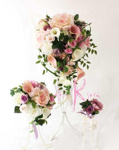 画像1: 造花オーダーメイドブーケ キャスケードブーケ・ブトニア・ミニブーケ(ピンクパープルローズ&カラー)