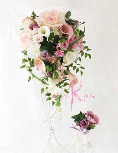 画像2: 造花オーダーメイドブーケ キャスケードブーケ・ブトニア・ミニブーケ(ピンクパープルローズ&カラー)