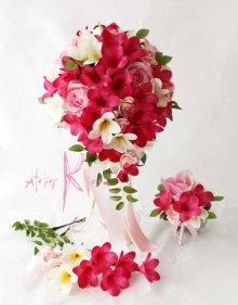 他の写真3: 造花オーダーメイドブーケ キャスケード・ブトニア・ヘッドパーツ(プルメリア&プルメリア)