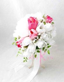 他の写真2: 造花オーダーメイドブーケ ティアドロップ・ブトニア(チューリップW&P)