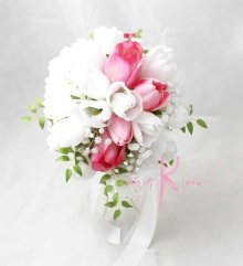 他の写真1: 造花オーダーメイドブーケ ティアドロップ・ブトニア(チューリップW&P)