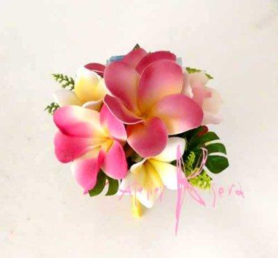 画像4: 造花オーダーメイドブーケ キャスケード・ブトニア(ピンクプルメリア&トロピカルリーフ)