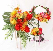 他の写真1: 造花オーダーメイドブーケ  キャスケードクラッチ・ブトニア・ハクレイ(花冠)(ジンジャー&オーキッドトロピカルリーフ)