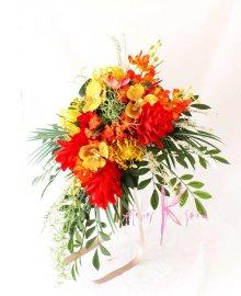 他の写真2: 造花オーダーメイドブーケ  キャスケードクラッチ・ブトニア・ハクレイ(花冠)(ジンジャー&オーキッドトロピカルリーフ)