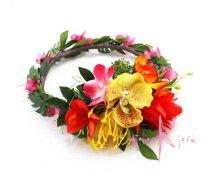 他の写真3: 造花オーダーメイドブーケ  キャスケードクラッチ・ブトニア・ハクレイ(花冠)(ジンジャー&オーキッドトロピカルリーフ)