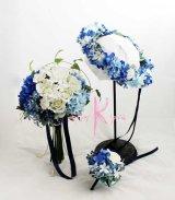 造花オーダーメイドブーケ  クラッチ23・ブトニア・花冠(ブルー&ホワイト)