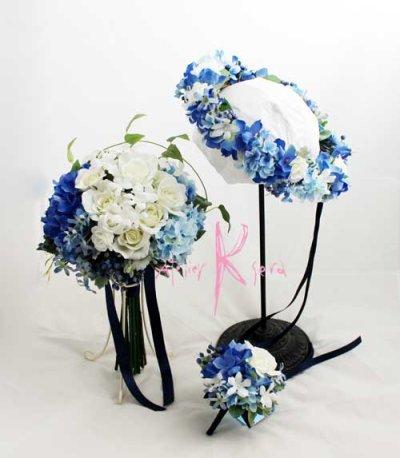 画像1: 造花オーダーメイドブーケ  クラッチ23・ブトニア・花冠(ブルー&ホワイト)