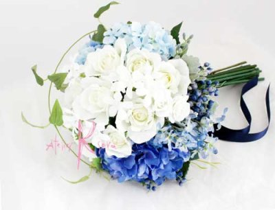 画像2: 造花オーダーメイドブーケ  クラッチ23・ブトニア・花冠(ブルー&ホワイト)