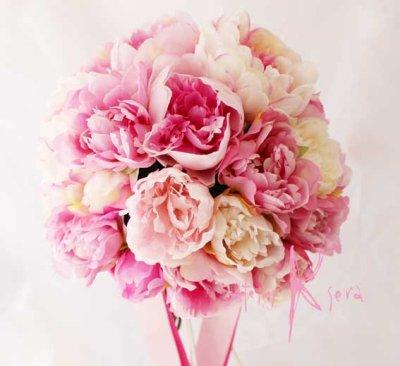 画像2: 造花オーダーメイドブーケ  25クラッチ・ブトニア・ハクレイ(花冠)&ヘッドピース(P&Wピオニー)