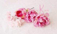 他の写真3: 造花オーダーメイドブーケ  25クラッチ・ブトニア・ハクレイ(花冠)&ヘッドピース(P&Wピオニー)
