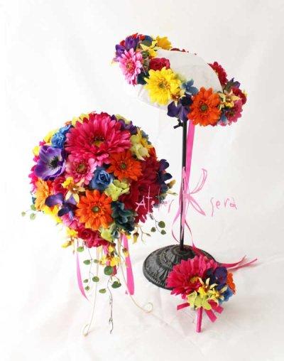 画像1: 造花オーダーメイド ティアドロップブーケ・ブトニア・花冠   ミックスカラーミックス