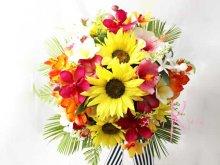 他の写真1: 造花オーダーメイド クラッチブーケ・ブトニア・ヘッドピース   (ヒマワリ&トロピカルミックス)