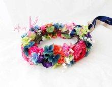 他の写真1: 造花オーダーメイド 花冠(ハクレイ)&ブトニア(ピンクラナンキュラス・ブルーミックス)