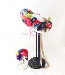 他の写真2: 造花オーダーメイド 花冠(ハクレイ)&ブトニア(ピンクラナンキュラス・ブルーミックス)
