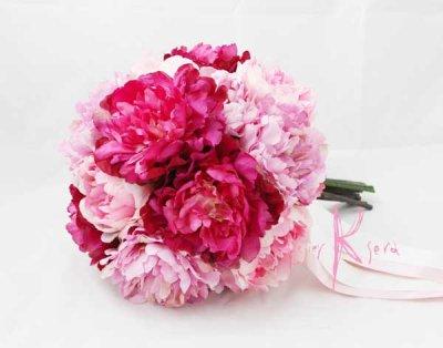 画像2: 造花オーダーメイドブーケ  25クラッチ・ブトニア・ハクレイ(花冠)(P&BPピオニー)
