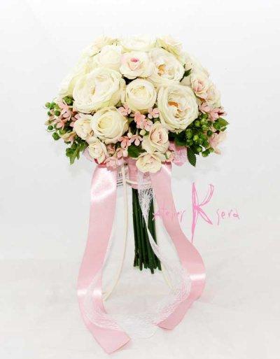 画像4: 造花オーダーメイド クラッチブーケ24・ブトニア(アンティークローズ&ブバリア
