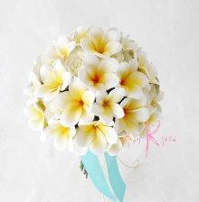 他の写真3: 造花オーダーメイド ボリュームクラッチブーケ25・ブトニア・ハクレイ(花冠)(プルメリア&ローズ)