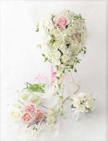 他の写真1: 造花オーダーメイド キャスケードブーケ・ブトニア・ヘッドピースセット(ローズ&ジャスミン)