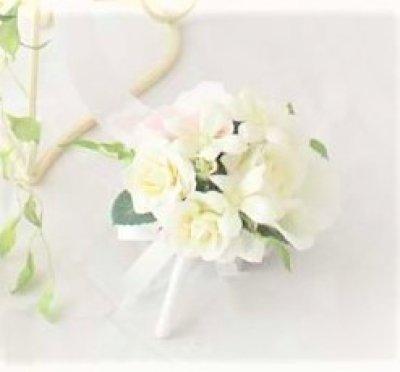 画像4: 造花オーダーメイド キャスケードブーケ・ブトニア・ヘッドピースセット(ローズ&ジャスミン)