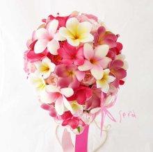 他の写真1: 造花オーダーメイド ティアドロップブーケ・ブトニア・花冠(プルメリア&ピンクローズ