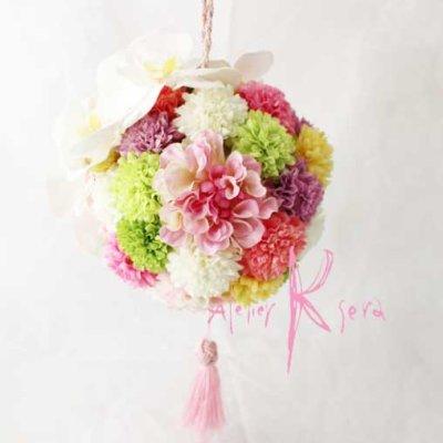 画像3: 造花オーダーメイド 和装用ボール(手まり)ブーケ(胡蝶蘭&マム・ダリア)