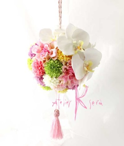 画像4: 造花オーダーメイド 和装用ボール(手まり)ブーケ(胡蝶蘭&マム・ダリア)