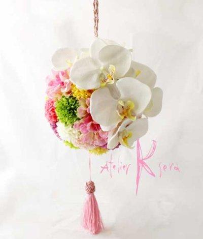 画像1: 造花オーダーメイド 和装用ボール(手まり)ブーケ(胡蝶蘭&マム・ダリア)