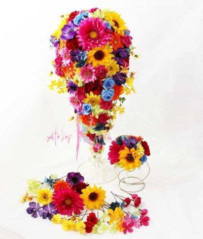 画像2: 造花オーダーメイド キャスケードブーケ・ブトニア・ヘッドピースセット(ビビッドカラーミックス)