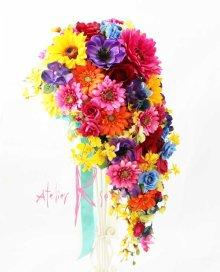 他の写真2: 造花オーダーメイド キャスケードブーケ・ブトニア・ヘッドピースセット(ビビッドカラーミックス)