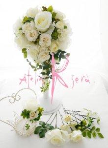他の写真1: 造花ピュアホワイトローズ ティアドロップブーケ・ブトニア・ヘッドパーツセット