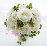 造花ホワイトローズ ラウンドブーケ・ブトニア・ヘッドパーツセット