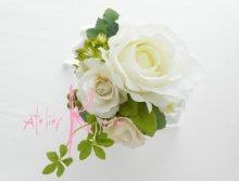 他の写真2: 造花ホワイトローズ ラウンドブーケ・ブトニア・ヘッドパーツセット