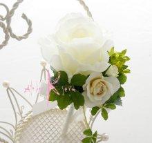 他の写真2: 造花ピュアホワイトローズ ティアドロップブーケ・ブトニア・ヘッドパーツセット
