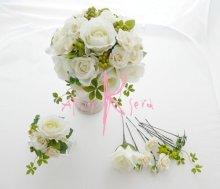 他の写真1: 造花ホワイトローズ ラウンドブーケ・ブトニア・ヘッドパーツセット