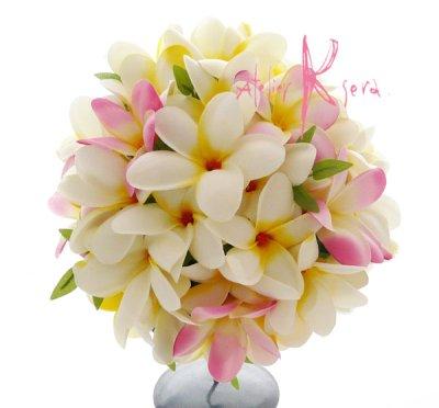 画像1: 造花プルメリア ラウンドブーケ・ブトニア・ヘッドパーツセット